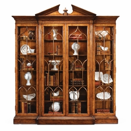 493073-WAL Jonathan Charles Buckingham Walnut Breakfront Triple Display Cabinet Full Glazing