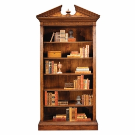 493081-WAL Jonathan Charles Buckingham Walnut Open Bookcase With Pediment
