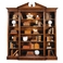 493083-WAL Jonathan Charles Traditional Windsor Collection Triple Breakfront Walnut Open Bookcase With Pediment