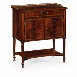 493090-MAH Jonathan Charles Buckingham Mahogany Bedside Table With Brass Gallery