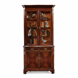 493119-MAH Jonathan Charles Buckingham Mahogany China Cabinet With Serpentine Profile