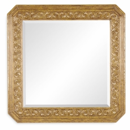 493145-LNO Jonathan Charles Sherwood Oak Natural Oak Square Mirror With Carved Rosettes