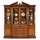 493156-CWM Jonathan Charles Buckingham Walnut Glazed Triple Display Cabinet Drawers To Base