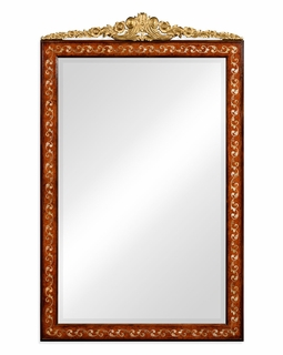 493251-BRW Jonathan Charles Duchess Louis Xvi Style Inlaid & Gilded Rectangular Mirror