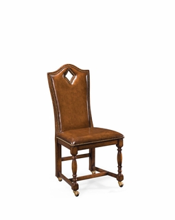 "493385 Jonathan Charles Country Farmhouse High Back Playing Card ""Diamond"" Chair (Side)"
