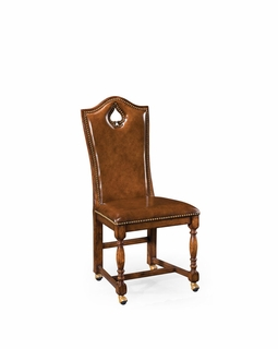 "493389 Jonathan Charles Country Farmhouse High Back Playing Card ""Spade"" Chair (Side)"