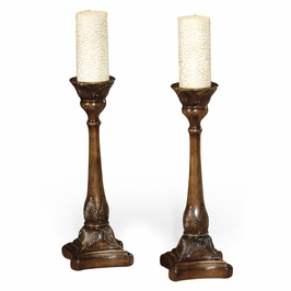 493568 Jonathan Charles Windsor Walnut Candlesticks With Square Bases