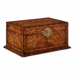 493846-CWM Jonathan Charles Buckingham Crotch Walnut Rectangular Jewelry Box