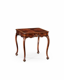 493895 Jonathan Charles Special Order Mahogany Three Legged Square Side Table Scallop Shells
