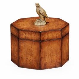 493972-BWM Jonathan Charles Buckingham Walnut Octagonal Box With Bird Finial