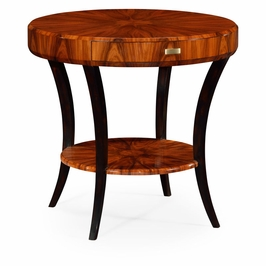 494000-SAH JC Modern Santos Art Deco Round Side Table With Drawer And Brass Handle (High Lustre)