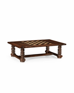 494039 Jonathan Charles Country Farmhouse Turned Leg Heavy Distressed Games/Coffee Table
