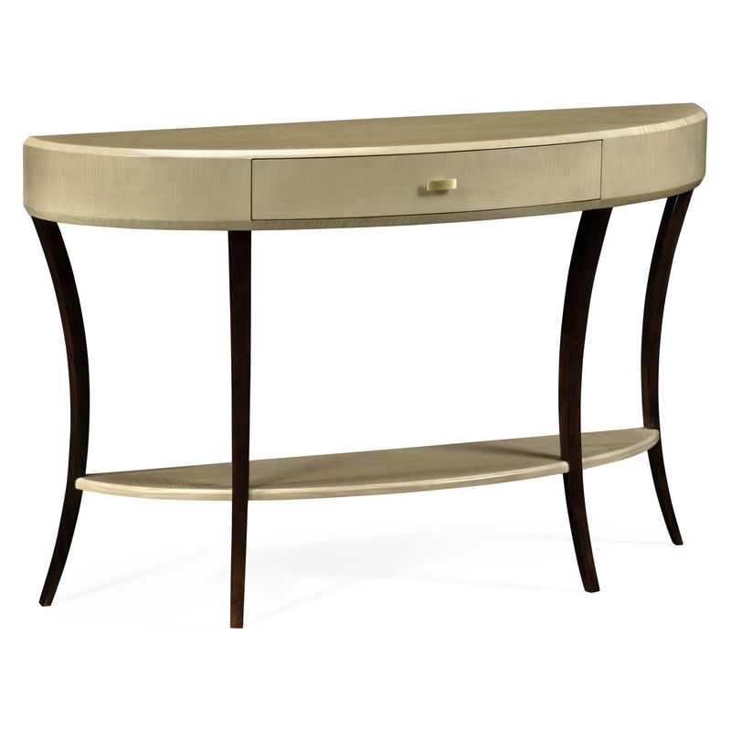 494087 Gsh Jc Modern Opera Art Deco Large Demilune Console Table With Drawer And Br Handle