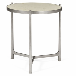 494140-S-SG01 Jonathan Charles Contemporary/Modern JC Modern - Luxe Collection Large Scagliola & Silver Round Side Table