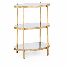 494171-G Jonathan Charles Contemporary/Modern JC Modern - Luxe Collection Large Eglomise & Gilded Iron Three-Tier Table