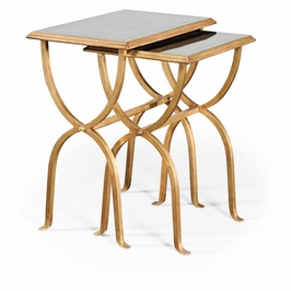494176-G Jonathan Charles Contemporary/Modern JC Modern - Luxe Collection Eglomise & Gilded Iron Nest Of Tables