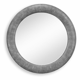 494257-SGA JC Modern Lux Round Wall Mirror With Faux Shagreen And Bone Edging (Black)
