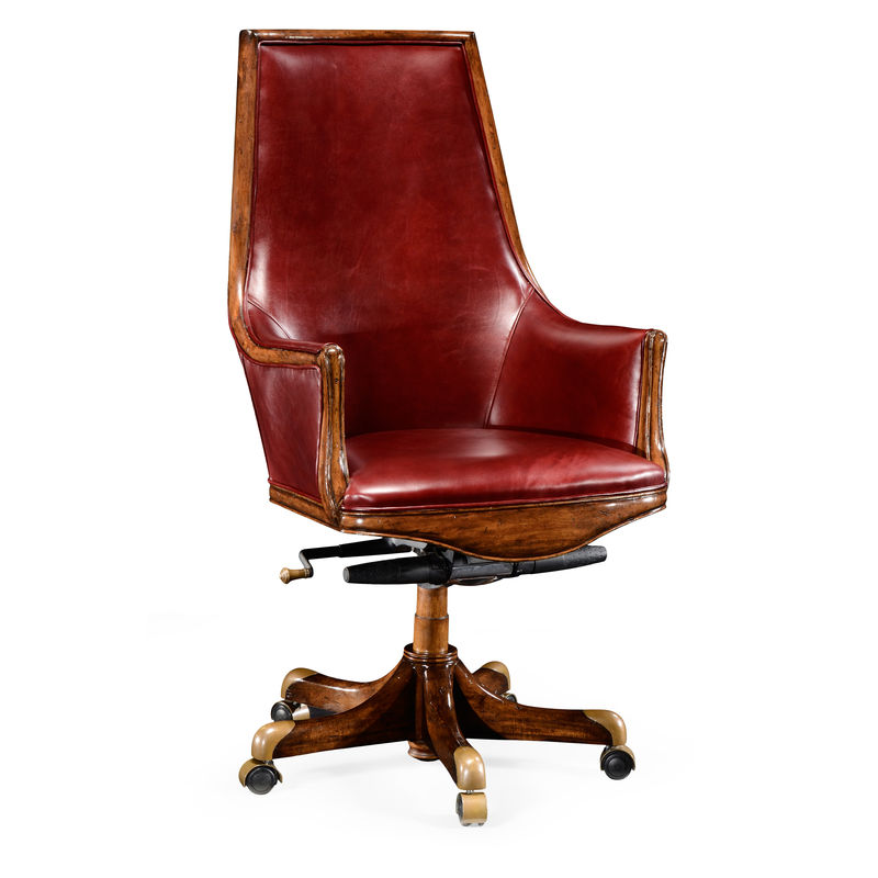 494264 Wal L027 Jonathan Charles Buckingham High Backed Desk Chair In Burdy Red Leather