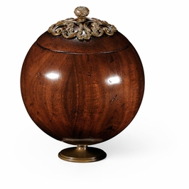 494292-WAL Jonathan Charles Country Farmhouse George Iii Round Walnut Box With Brass Mounts (Large)
