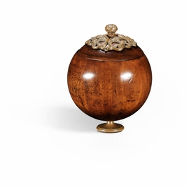 494293-WAL Jonathan Charles Country Farmhouse George Iii Round Walnut Box With Brass Mounts (Small)
