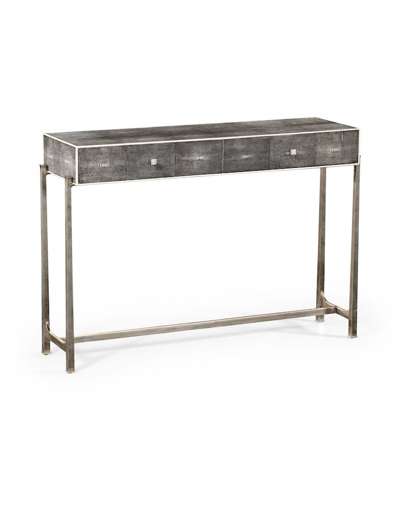 494325 jonathan charles luxe shagreen console table black. Black Bedroom Furniture Sets. Home Design Ideas