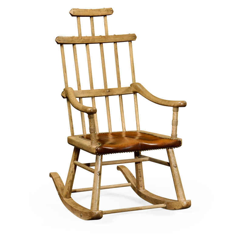Great 494331 LNO Jonathan Charles Sherwood Oak Natural Oak Windsor Style Rocking  Chair With Medium Antique Chestnut Leather