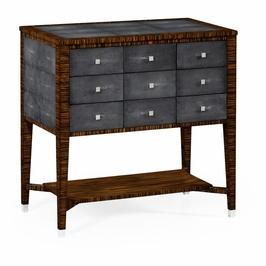 494362-MAS JC Modern Metropolitan Faux Macassar Ebony & Anthracite Shagreen 9-Drawer Chest