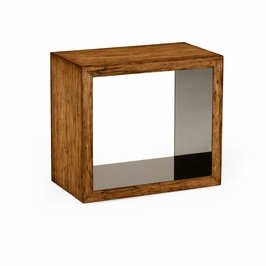 494402-LAW JC Modern Moroccan Argentinian Walnut & Black Glass Side Table