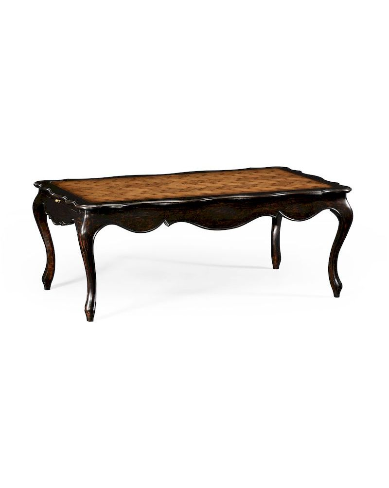 494489 Jonathan Charles Country Farmhouse French Style Black Finish Coffee Table Parquet Top
