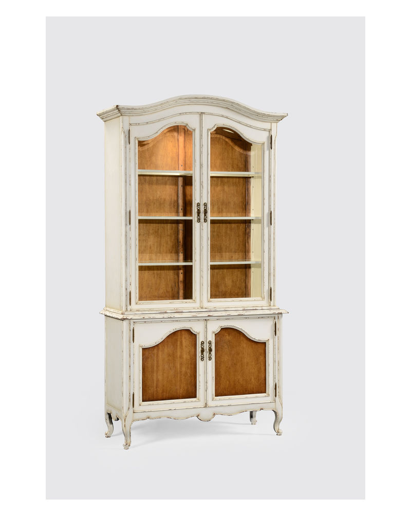 French country china cabinets - 494502 Jonathan Charles Country Farmhouse French Country Style White Finish Display Cabinet