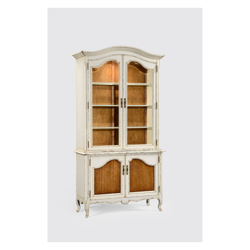 494502 Jonathan Charles Country Farmhouse French Style White Finish Display Cabinet