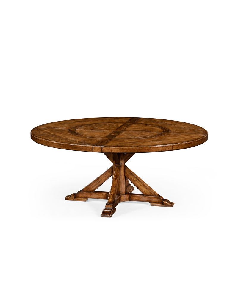Outstanding 494527 Jonathan Charles Country Farmhouse Gothic Style Walnut Circular Dining Table With Inbuilt Lazy Susan Download Free Architecture Designs Xerocsunscenecom