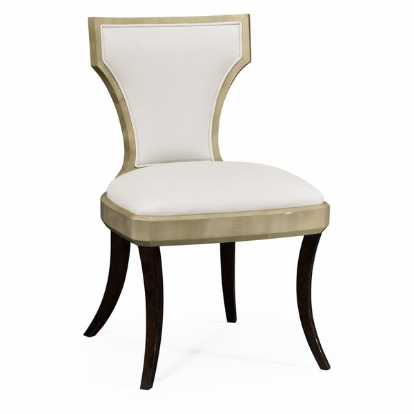 Pleasing 494586 Sc Gsh L025 Jonathan Charles Contemporary Modern Jc Modern Opera Collection Art Deco Champagne Side Chair Upholstered In Cream Leather Machost Co Dining Chair Design Ideas Machostcouk