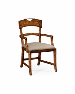 494859 Jonathan Charles Huntingdon Planked Walnut Rustic Armchair With Upholstered Seat with Walnut Country Farmhouse Finish