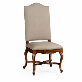 494888-SC-WAL-F001 Jonathan Charles Buckingham French Baronial Style Country Side Chair, Upholstered In Mazo