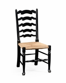 494943 Jonathan Charles Country Farmhouse Black Painted Ladder Back Chair (Side) with Painted Formal Black Finish