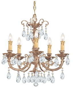 495-OB-CL-S Crystorama Etta 5 Light Swarovski Strass Crystal Brass Chandelier II