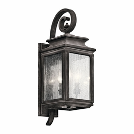 49502WZC Kichler Fixtures Traditional Weathered Zinc Outdoor Wall 3Lt