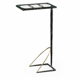 495031-BRO Jonathan Charles Contemporary/Modern JC Modern - Stiletto Collection Hammered Antique Black Brass Sofa Drinks Table