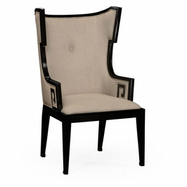 495047-AC-BLA-F001 Jonathan Charles Buckingham Greek Key Design Biedermeier Black Armchair