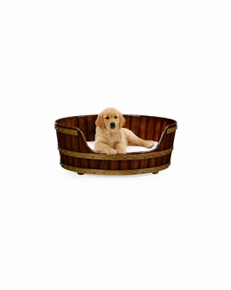 "495053 Jonathan Charles Country Farmhouse Walnut Wooden Dog Bed 32"" with Walnut Medium Finish"
