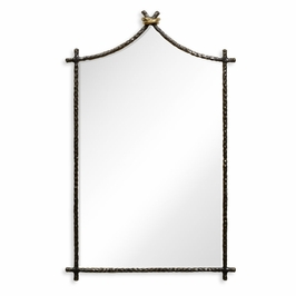 495082-BRO Jonathan Charles Contemporary/Modern JC Modern - Stiletto Collection Hammered Antique Black Brass Wall Mirror