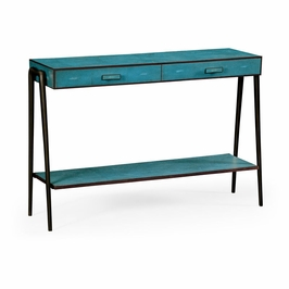 495204-SGT-BRO JC Modern Lux Teal Faux Shagreen And Bronze Legged Console