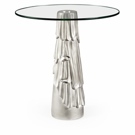 495302-SIL Jonathan Charles Versailles Gilded Antique Silver Leaf Round Drink Table