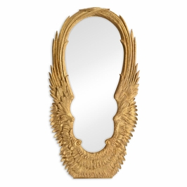 """495342-GIL JC Modern Icarus Classical """"Winged"""" Antique Gold-Leaf Floor Mirror"""