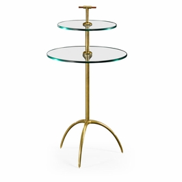 495355-LAB Jonathan Charles Contemporary/Modern JC Modern - Cosmo Collection Brass & Glass Round Drinks Table