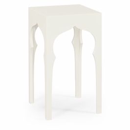 495373-SNW Jonathan Charles Moroccan Square Lamp Table (Snow White)