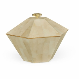 495512-EC003 JC Modern Indochine Dutch White Eggshell Hexagonal Box