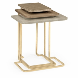 495593-BRM Jonathan Charles Contemporary/Modern JC Modern - Eclectic Collection Brown Italian Layer Nesting Tables