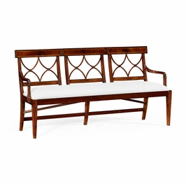 495627-MAH-FCOM Jonathan Charles Buckingham Three Seater Regency Mahogany Bench, Upholstered In Com